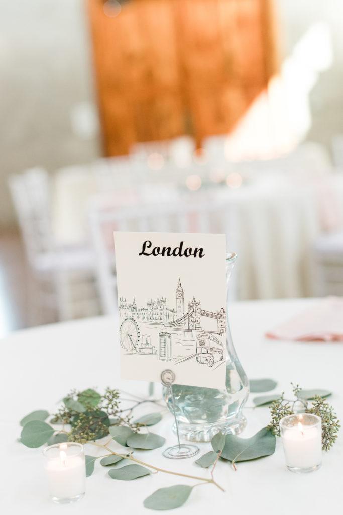 travel themed wedding table